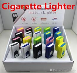 2019 isqueiros cohiba charuto Cigarros Isqueiros USB Bateria Recarregável Eletrônico Cigarros Mais Leve À Prova de Vento Sem Chama Sem Combustível de Gás ABS Plástico Retardador de Chama