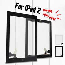 Wholesale Ipad Adhesive Black - For iPad 2 Good Quality 100% Tested Black & White Touch Screen Digitizer Assembly Complete Replacement with Home Button & Adhesive Tape