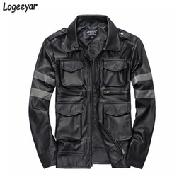 Wholesale Patchwork Pu Leather Jacket - Wholesale- Resident Evil Hot-Selling Three-Dimensional Pockets Mens Leather Jacket Slim Fit Leather Coat Men Size M-3XL