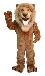 Wholesale Lion Adult Costumes - Wholesale-Friendly lion mascot costumes 100% real picture adults christmas Halloween Outfit Fancy Dress Suit Free Shipping