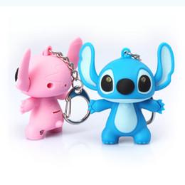 Wholesale Pink Stitch Toys - Stitch LED Sound Keychains Key Chain Cartoon Animal Keyring Key ring Kids Toys Fashion Accessories Decoration Children Party Christmas Gift