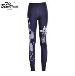Pistola de pantalón online-Pistola de impresión digital 2015 Pantalones deportivos para mujer Pantalones para mujer Pantalones de mezcla de algodón de moda Capris Ropa deportiva negra Envío directo FG1510