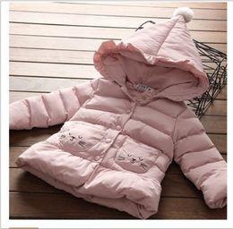 Wholesale Winter Coat Ruffles - Sweet Girls Cat Embroidery Coats Thickening 2017 Winter Kids Boutique Clothing Instsgram Hot Sale Girls Hoodie Ruffle Long Jacket Coats