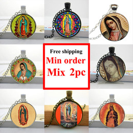 Wholesale Mary Heart - Wholesale-Wholesale Our Lady of Guadalupe Necklace Our Lady of Guadalupe Jewelry Virgin Mary Sacred Heart Art Glass Necklace