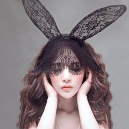 Wholesale Cat Lace Veil - Sexy Lace Mask Lady Gaga Rabbit Bunny Ears Veil Hair Bands Headbands for Bridal Wedding Christmas Halloween Party Black white