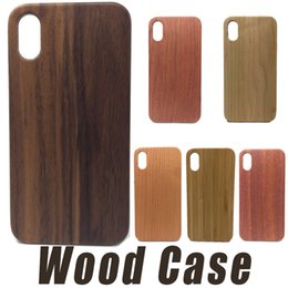 Wholesale Wood Pcs - Real Wood Case For iPhone X 8 7 6 6S Plus Cover Nature Carved Wooden Bamboo Wood+PC Case For iPhone 5 5S SE Phone Shell