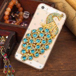 Wholesale Diamante Iphone Covers - for iphone 6 Plus Diamante Crystal Peacock Tranparent case Rhinestone Fashion Bling PC Back Cover phone cover for iphone 5s 6S