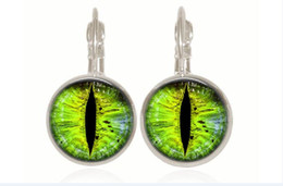 Wholesale French Copper - 1 pair green cat Eye drop Earring Silver Plated French Lever Back Glass Cabochon Copper Earring for women