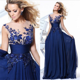 Wholesale Embroider Chiffon Evening Dress - Formal Evening Prom Dresses Lace Embroidery Beads Bridal Party Evening Wear Sheer Neckline Short Sleeves Backless Applique Chiffon Plus Size