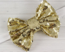 Wholesale Big Sequin Bow Headbands - Baby Girls Big sequins Bows stripe DIY headbend Baby girls Headbands Hairband children lovely hair accessories kids Hairbands A77654