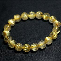 Wholesale Rutile Quartz Bracelets - Wholesale Natural Genuine Yellow Titanium Gold Hair Needle Rutile Quartz Rutilated Finished Stretch Bracelet Round Jewelry beads 04198