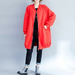 Wholesale Trench Coat Woman Red - Winter Autumn Trench Coats for women Long sleeve Loose Plus size Embroidery Women Coats Red and Black colors