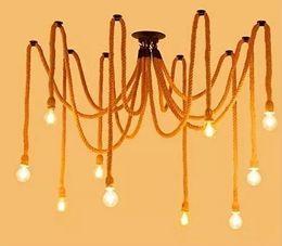 Wholesale Spider Ceiling Lamp - E27 Rope Edison Down Light Bulbs Vintage Spider Net Chandeliers Ceiling Pendant Creative Bar Lamp DIY Coffee Fairy Light Weave Yarn LLFA