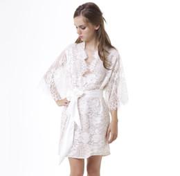 Wholesale See Through Nightgown Woman - Handmade White Lace Bridal Robes Sleepwear Half Sleeve See Through Women Underwear Transparent Nightgown Sexy Women's Underwear Tigh High