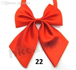 Wholesale Ladies Ascot Tie - Wholesale-classic CUTE fashion lady gifts Sexy Pure color scarlet Adjustable Girl Women Bow Tie bowknot tie 22