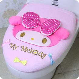 Wholesale Case Melody Free Shipping - Free Shipping Cute KT cat plush two -piece Toilet seats melody toilet cover toilet seat potty cover piece suit cartoon