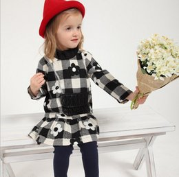 Wholesale Girls Leggings Flowers - Little Baby Girls Clothing Sets For 2015 Autumn Fashion Europe and America %100 Pure Cotton Flower Dress + Leggings Kids Suits TR190 Retail