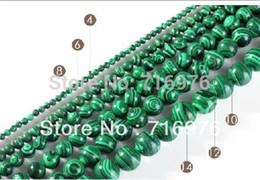malachitperlen Rabatt Großhandels-Großverkauf 4.6.8.10.12.14mm natürliche grüne Malachit-runde Korne 15.5
