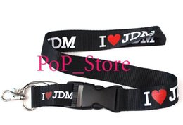 Wholesale Id Cars - men's automobile  car I love JDM KEY Chain Lanyard neck lanyards Cell Phone Straps Charms ID Holder 46 colors can choose car-8