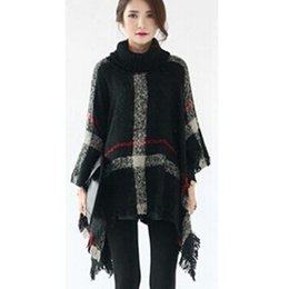 Wholesale Womens Sweater Shawl - Womens Autumn Winter Warm Cape Coats Cloak Ladies Sweater Fringe Plaid Poncho Turtleneck Batwing Pullovers Knitted Shawl Poncho