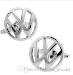 Wholesale Vw 15 - Silver VW Cufflink 15 Pairs Wholesale Free Shipping