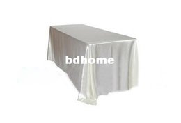 Wholesale Decoration Satin Cloth - High Quality White Rectangle 147cmx304cm Satin Table Cloth For Wedding Event &Party &Hotel &Resturant Decoration