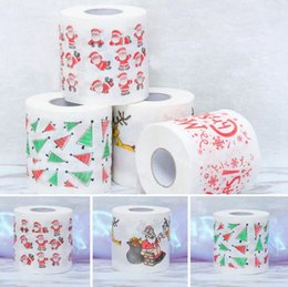 Wholesale Toilet Paper Roll Tissue Wholesale - 300pc santa Claus Printed Toilet Paper Merry Christmas Bath Toilet Roll Paper Tissue Living Room Table Decor