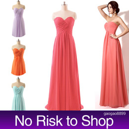 Wholesale Cheap Lilac Long Bridesmaid Dresses - In Stock Long Coral Bridesmaid Dresses Real Image Lilac Sweetheart A line Pleats Bridal Party Gowns for Maid of Honor Cheap NR 2015 Beach