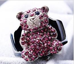Wholesale Diamante Watches - Hot sales Fashion quartz Unique design cute Little bear charming diamante Flip clock students gir gift Ring watch