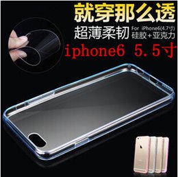 Wholesale Iphone 4s Clear Bumpers - Hot For iphone 6 5S 4S Clear Transparent TPU Case Cover Hybrid TPU + PC Back for Iphone 6 plus Colorful Bumper Skin