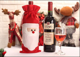 Wholesale Christmas Decorations Wholesale Prices - Factory Price!! Christmas Santa Wine Bottle Bag Red Wine Bottle Cover Bags Merry Xmas Dinner Party Decor Table Christmas Decorations