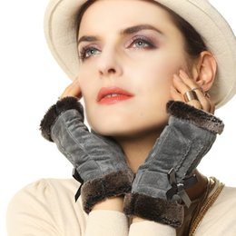 Wholesale Fashion Fingerless Leather Gloves Women - Wholesale- Women Mittens Plus Short Fleece Lining 2017 Top Fashion Lady Genuine Pigskin Suede Leather Wrist Fingerless Gloves L128NQ