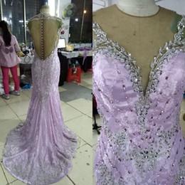 Robes de soirée perlées de qualité supérieure Dentelle de lavande de luxe robes de soirée sirène pure bijou cou perles Sequin cristaux broderie robe de bal ? partir de fabricateur