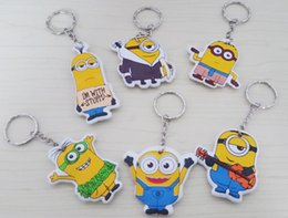Wholesale Despicable Charms - Despicable Me key chain movie theme cartoon key rings Minions pendants keyring holders fashiom charms jewelry Christmas gift