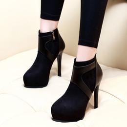 59338023c8d3ab Winter Mode Damen Schuhe Sexy High Heel Stiefeletten Runde Kappe  Plateauschuhe 11 cm Größe 34 bis 39 rabatt frauen größe 11 fersen