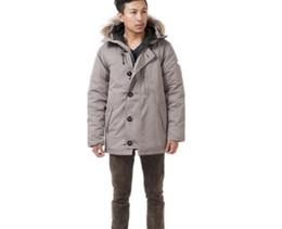Wholesale Canada Outwear - Top sales Super warm heavyweight Raccoon Fur Parkas outwear Jacket Famous popular men canada white duck down jacket with hoodies