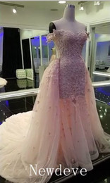 Wholesale Tulle Organza Feather Dress - Pink Lace Appliqued Wedding Dresses with Tulle Overskirt