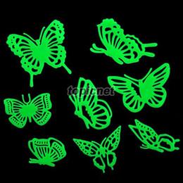 Adesivi a parete di plastica della farfalla online-ASLT Butterflies Glow in the Dark Fluorescent Plastic Home Decorate Wall Sticker ordinare $ 18no track