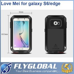 Wholesale Proof Love - Love Mei Powerful for Samsung Galaxy S6 for S6 edge Water Dirt Shock Proof Metal Aluminum Case Tempered Gorilla Glass Colorful