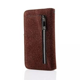 Wholesale Wallet Zip For Iphone - fashion Zip wallet card holder multi function flip hairy leather case cover skin shell for iPhone 6 Plus luxury flip cover