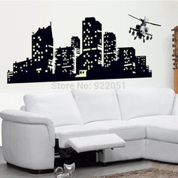 Wholesale City Wall Stickers - ABQ9607 New Glow In The Dark Luminous Neon The City Of night Home Decor Mural Poster Wall Stickers Luminous Fluorescent Vinyl