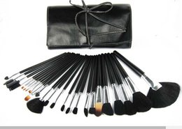 Wholesale Low Price Leather - lowest price  HOT new 24Pcs set Professional Makeup Brushes with leather pouch