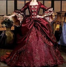 Wholesale Ruffled Purple Quinceanera Dress - Half Sleeves Wine Red Quinceanera Dress Pleat Lace Appliques Floor Length Renaissance Victorian Period Gothic Vintage Quinceanera Gown LV465