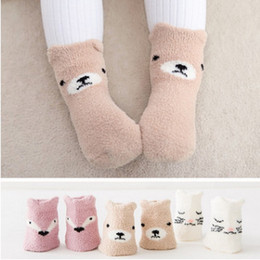 Wholesale Sleeping Bear Cartoon - Toddler velvet thicken cartoon socks infant baby girls boys cute fox cat bear non-slip socks winter newborn kids sleep warmer legs R1067