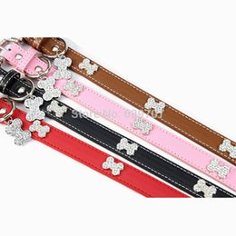 Wholesale Bling Dog Collar Personalized - Personalized Rhinestone Dog Collar With Pendent Tag Accessories Bling Pu Leather Collar Pet Products