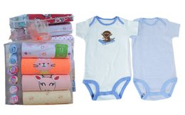Wholesale High Quality Girls Socks - 1 pack Retail High quality baby girls boys infant toddler clothing bodysuits romper jumpsuit 1pack=4pcs Bodysuits+6 pairs Socks, A003