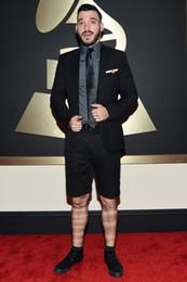 Wholesale Celebrity Men Gray Suits - 2015 Grammy Awards Groom Tuxedos Handsome Slim Formal Party Best Man Celebrity Evening Men Suits Groomsman Men Suits (Jacket+Pants+tie)