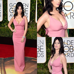 Wholesale Katy Perry Evening Dresses - 73rd Golden Globes Katy Perry Runway Dresses Sexy Spaghetti Straps V Neck Formal Long Evening Dresses
