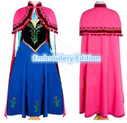 Wholesale Movie Costumes For Adults - Adult anna costume frozen princess anna dress adult cosplay halloween costumes for women frozen anna dress fantasy women custom