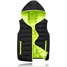 Wholesale Hooded Outerwear Vest - 1601 2015 Mens Vaistcoat Casual Outerwear & Coats Solid Color Hooded Vests Fashion Zipper Vestcoat For Men's Winter Coat 4 Colors